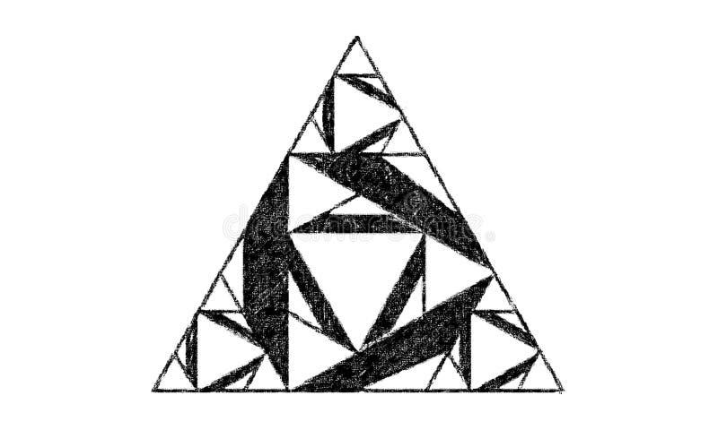 Forma del triángulo hecha de triángulos más pequeños stock de ilustración