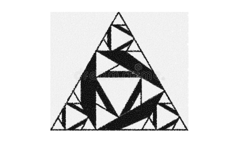 Forma del triángulo hecha de triángulos más pequeños ilustración del vector