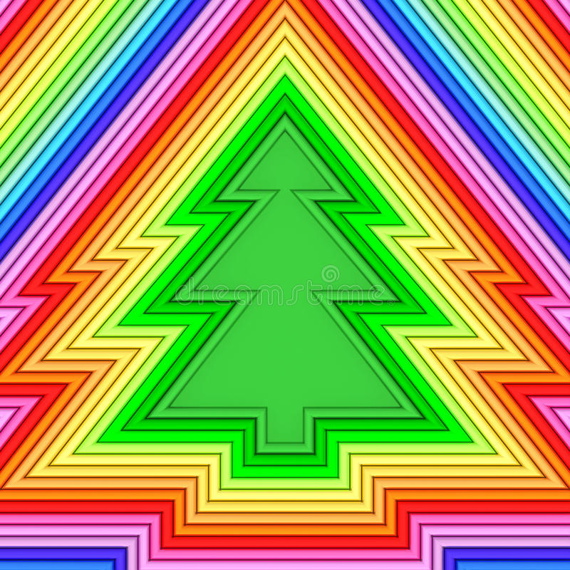 Forma dell'albero di Natale composta di tubi metallici variopinti illustrazione vettoriale