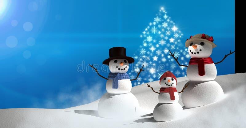 Forma dell'albero di Natale del fiocco di neve con il paesaggio della neve e la famiglia dei pupazzi di neve illustrazione vettoriale