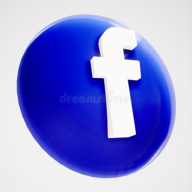 forma dell'icona del bottone di 3D Facebook illustrazione vettoriale
