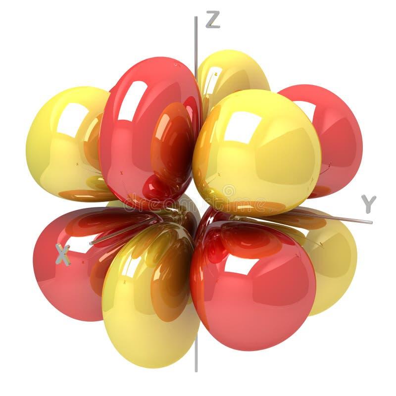 Forma dell'orbitale atomico di 5G m2 su fondo bianco Availabl illustrazione vettoriale