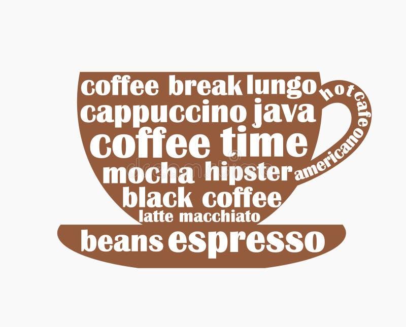 Forma della tazza di caffè con il testo di parole del caffè royalty illustrazione gratis