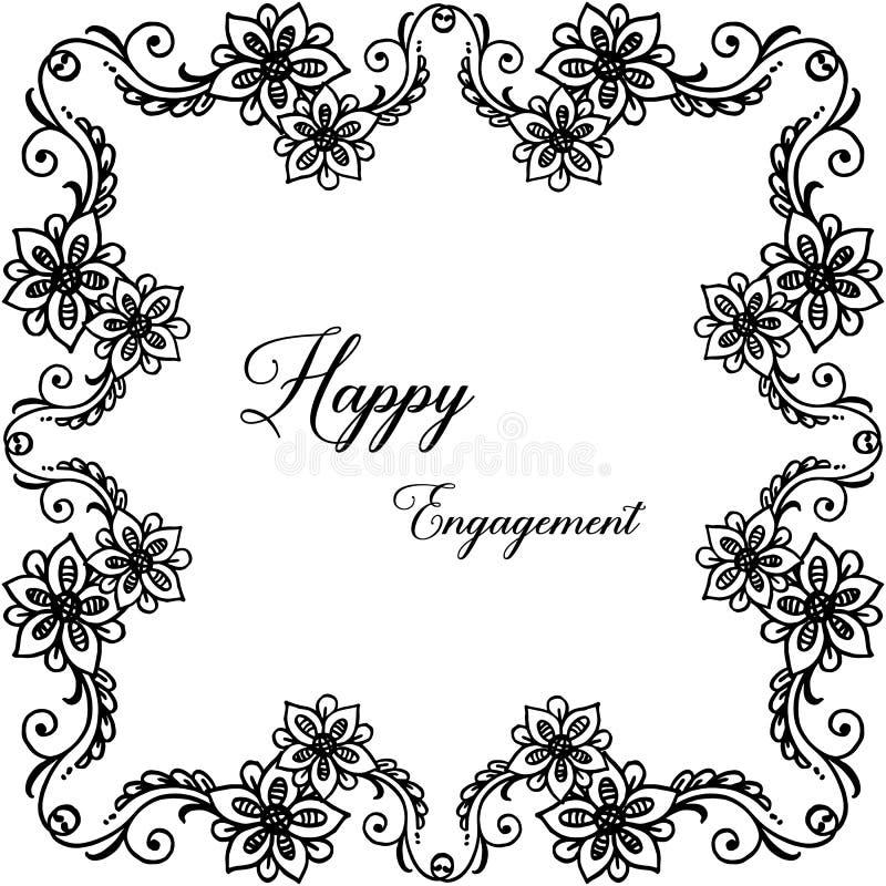 Forma delle carte, iscrizione dell'impegno felice, struttura floreale elegante Vettore illustrazione di stock