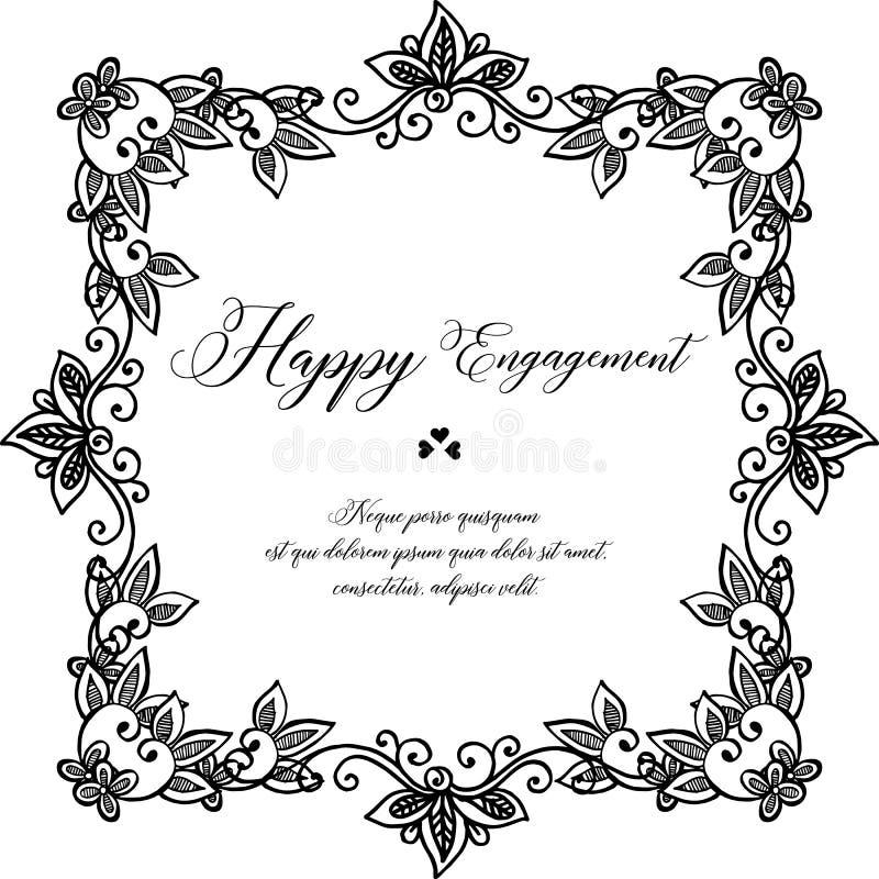 Forma delle carte, iscrizione dell'impegno felice, struttura floreale elegante Vettore royalty illustrazione gratis