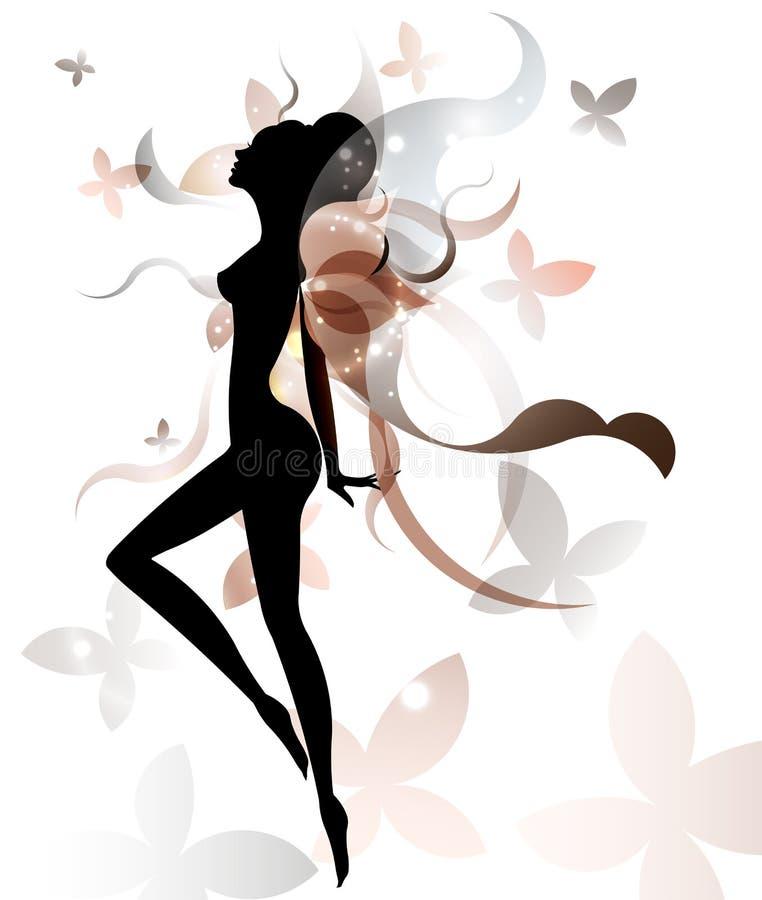 Forma di bei cosmetico dell'icona della donna e stazione termale, donne di logo su fondo bianco, royalty illustrazione gratis