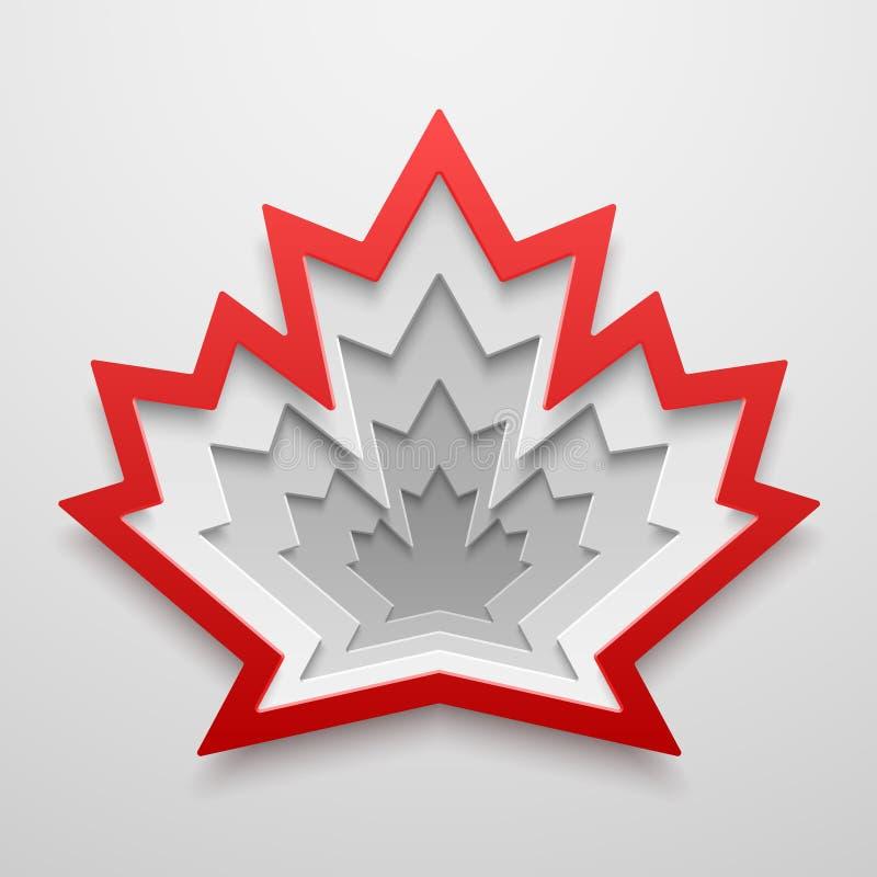Forma di carta di arte della foglia di acero Illustrazione canadese di vettore di simbolo illustrazione di stock