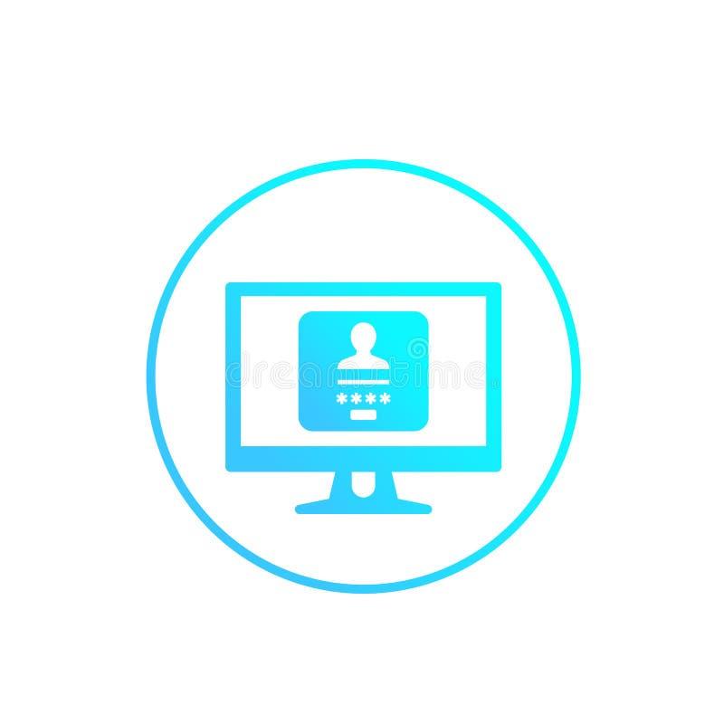 Forma di connessione, icona di vettore di autenticazione su bianco illustrazione vettoriale