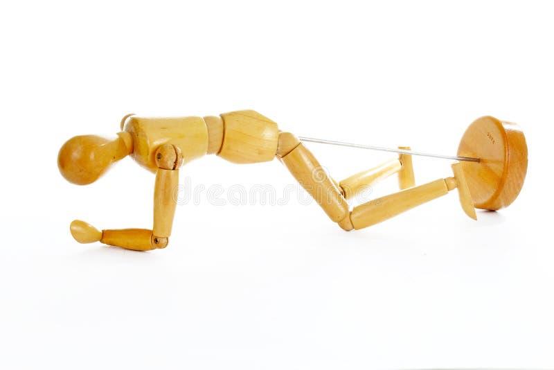 Forma di legno dell'essere umano del modello del disegno del manichino Posa della statua della figurina del corpo umano della bam fotografia stock libera da diritti