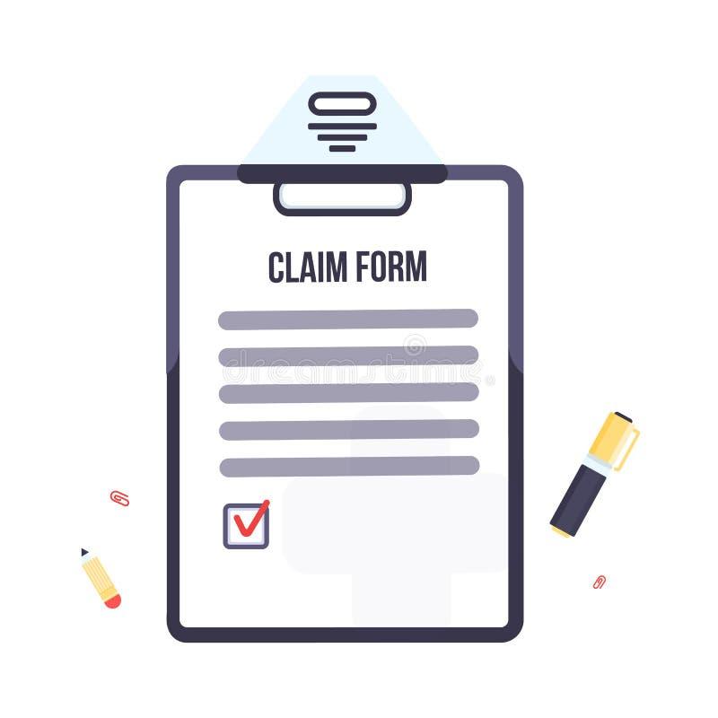 Forma di reclamo di assicurazione con la lavagna per appunti Progettazione piana dell'illustrazione di affari di vettore royalty illustrazione gratis
