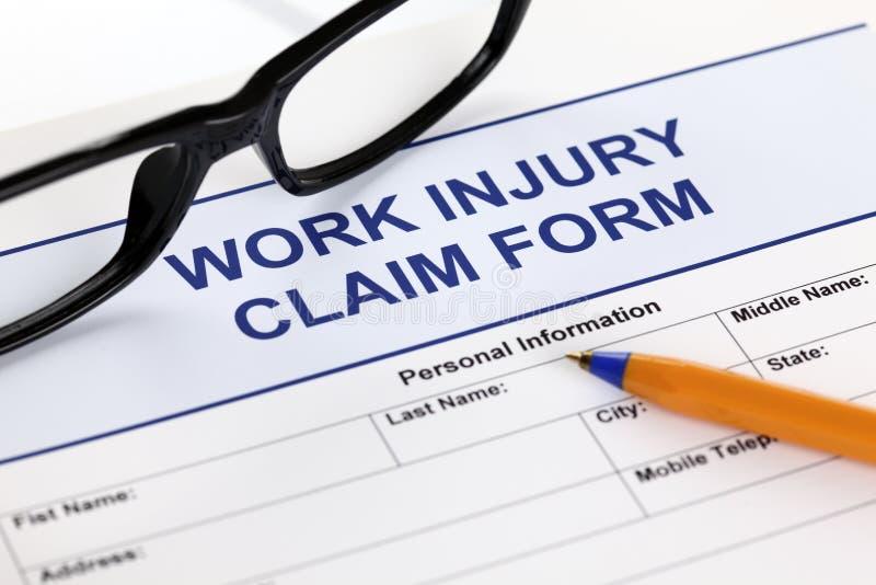 Forma di reclamo di lesione di lavoro immagini stock libere da diritti