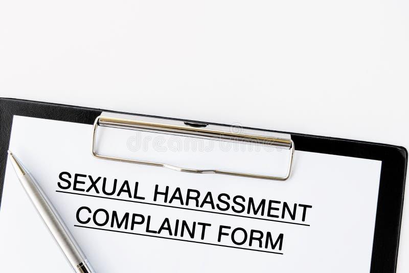 Forma di reclamo di molestia sessuale sopra immagini stock libere da diritti