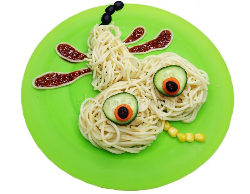 Forma di verdure creativa della libellula della cena dell'alimento fotografia stock