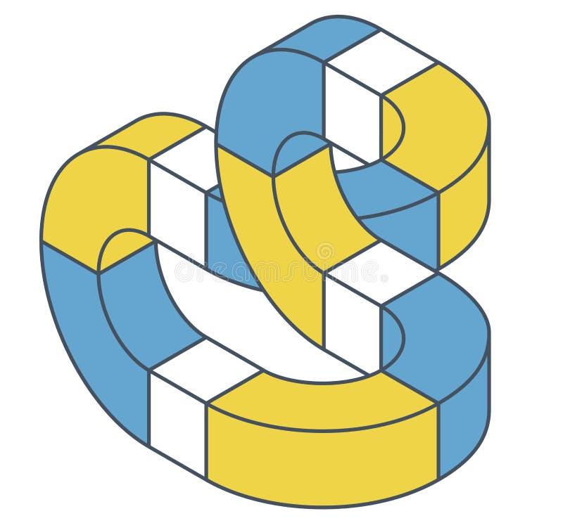 Forma di vettore di curvatura dell'estratto Oggetto isometrico descritto illustrazione vettoriale
