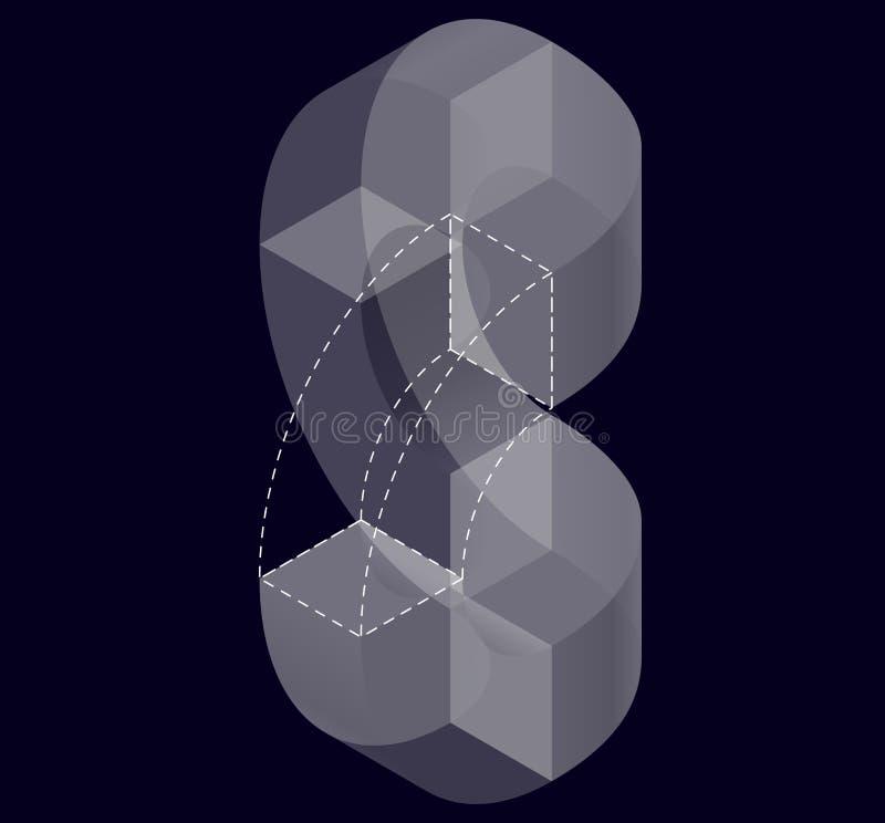 Forma di vettore di curvatura dell'estratto sul nero Marca isometrica di istituzione scientifica, centro di ricerca, laboratori b illustrazione di stock