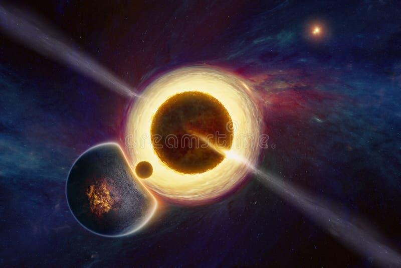 Forma di vita extraterrestra soprannaturale nello spazio cosmico profondo vicino al buco nero supermassiccio illustrazione di stock