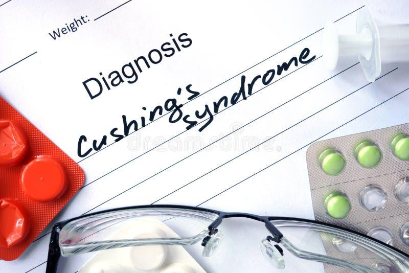 Forma diagnostica con la sindrome di Cushings di diagnosi fotografia stock libera da diritti