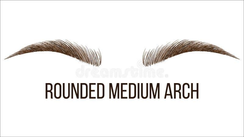 Forma disegnata a mano arrotondata delle fronti di vettore medio dell'arco illustrazione vettoriale