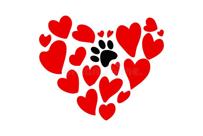 Forma disegnata a mano del cuore dei cuori rossi di dimensioni differenti e di una stampa animale nera della zampa illustrazione vettoriale