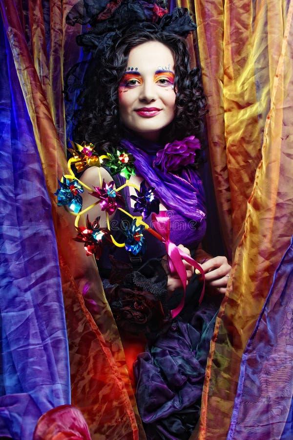 Forma disparada da mulher no estilo da boneca fotografia de stock royalty free