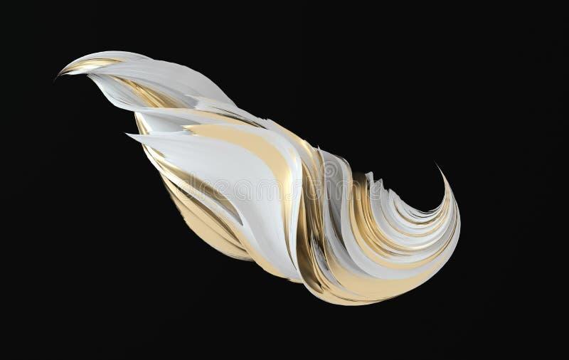 Forma distorcida e dinâmica abstrata colorida 3d renderização em espiral Ilustração geométrica gerada por computador ilustração stock