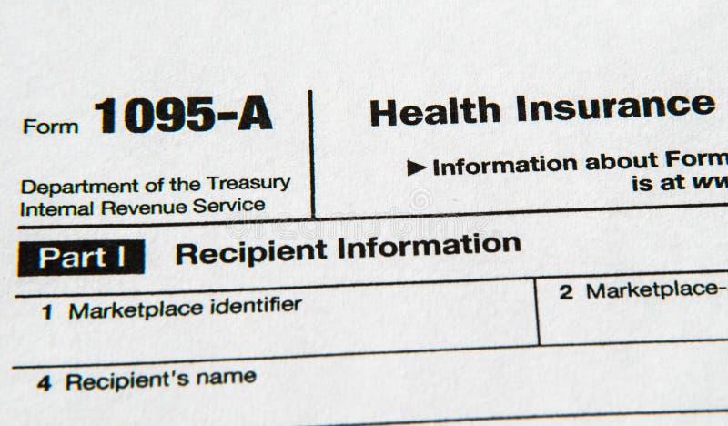 Forma 1095 dla Niedrogiego opieka zdrowotna aktu zdjęcia stock