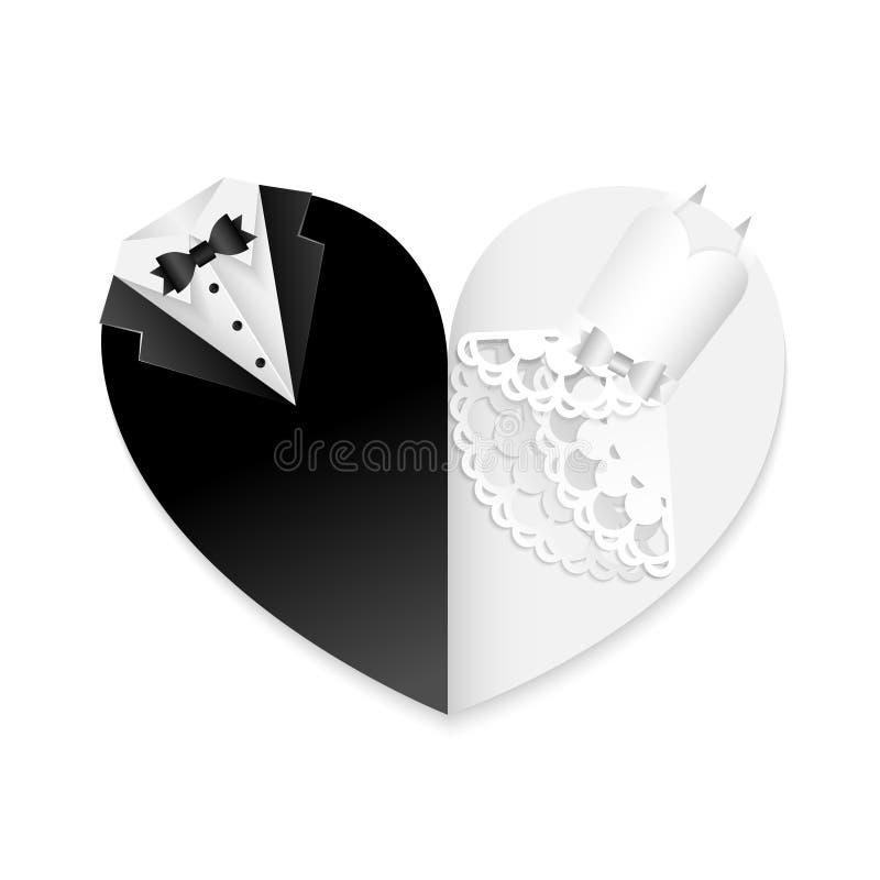 A forma do casamento do papel do cartão do coração cortou a combinação branca preta da decoração - arte abstrato ilustração stock