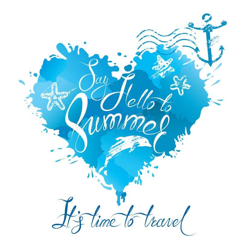 A forma do coração é feita de cursos da escova e borra nas cores do azul ilustração stock