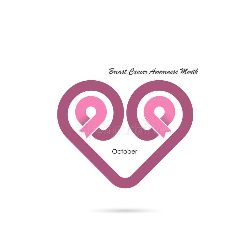 Forma do coração & ícone cor-de-rosa da fita Conscientização M de outubro do câncer da mama ilustração royalty free