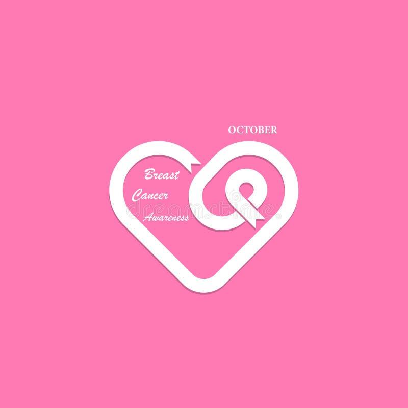 Forma do coração & ícone cor-de-rosa da fita Conscientização M de outubro do câncer da mama ilustração stock