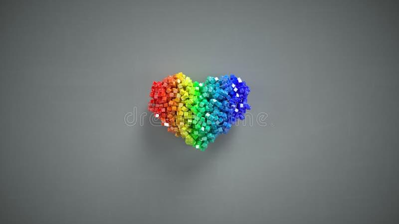 A forma do coração do arco-íris dos cubos lustrosos pequenos 3D rende ilustração stock