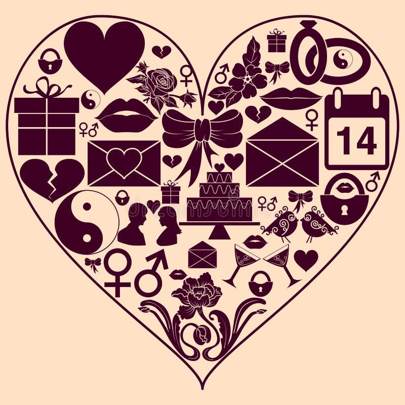 Forma do coração com ícones do St Valentine Day Fundo ao dia dos amantes ilustração royalty free