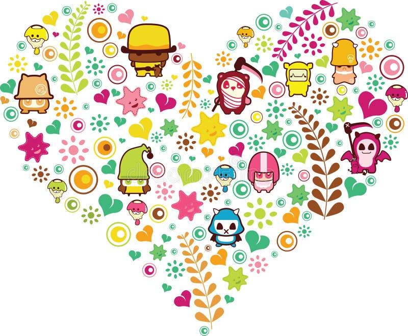 Forma do coração com desenhos animados ilustração do vetor