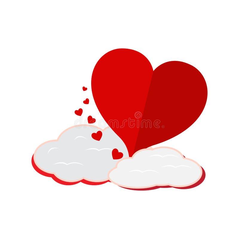 Forma do coração com uma nuvem ilustração stock