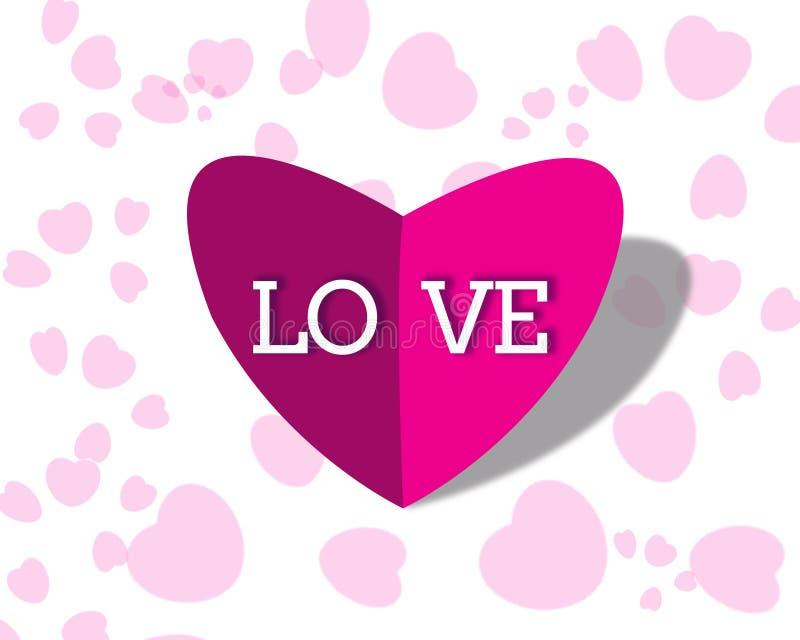 forma do coração 3d para o cumprimento do dia de Valentim imagens de stock
