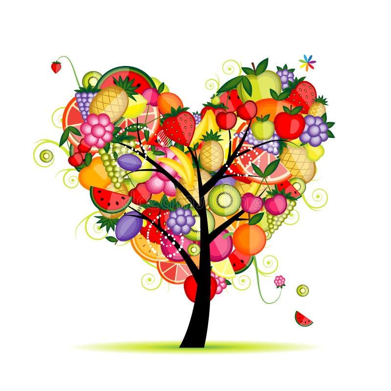 Forma do coração da árvore de fruta da energia para seu projeto ilustração stock
