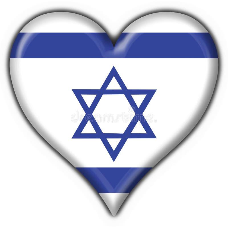 Forma do coração da bandeira da tecla de Israel ilustração royalty free