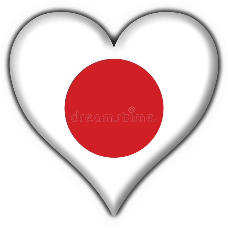 Forma do coração da bandeira da tecla de Japão ilustração royalty free