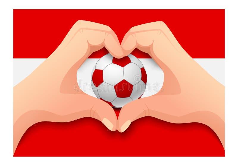 Forma do coração da bola e da mão de futebol de Áustria ilustração stock