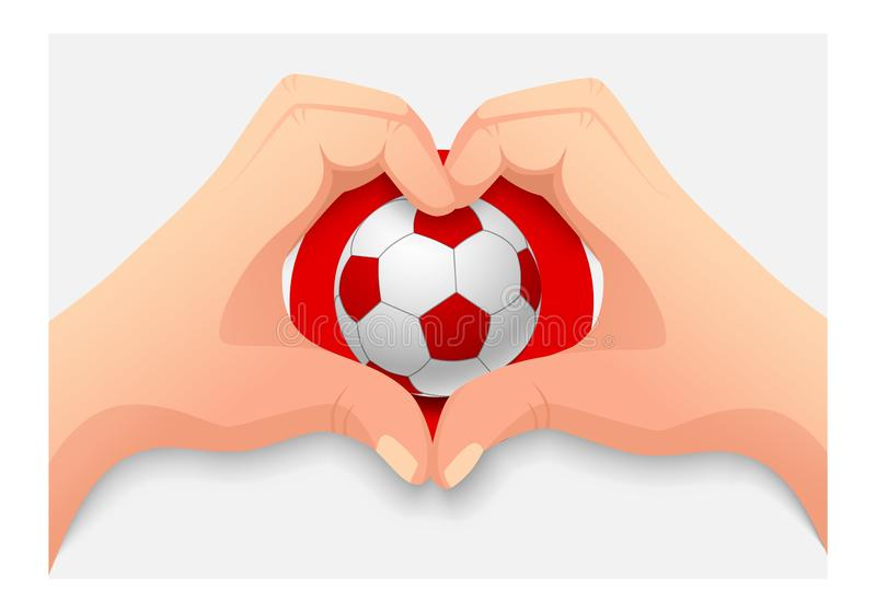 Forma do coração da bola e da mão de futebol de Japão ilustração royalty free
