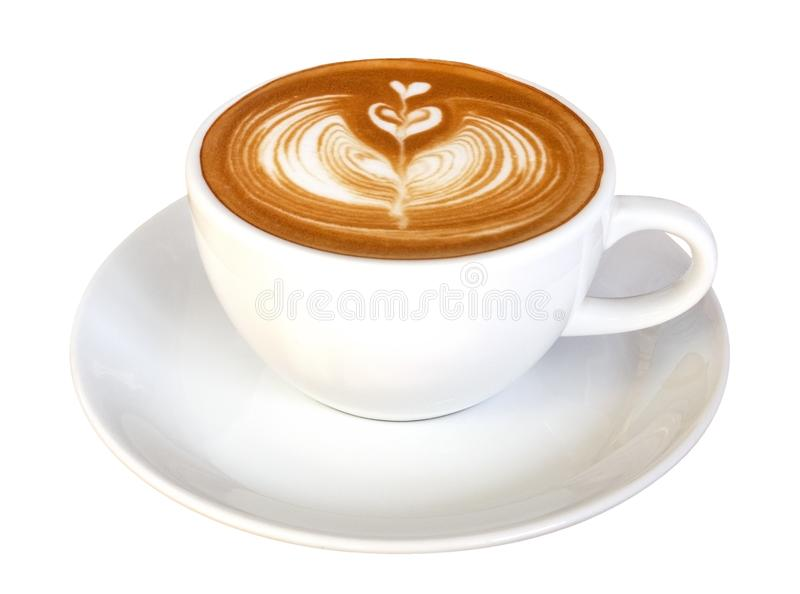 Forma do coração da flor da arte do latte do café, cappuccino quente isolado no fundo branco, trajeto imagens de stock royalty free