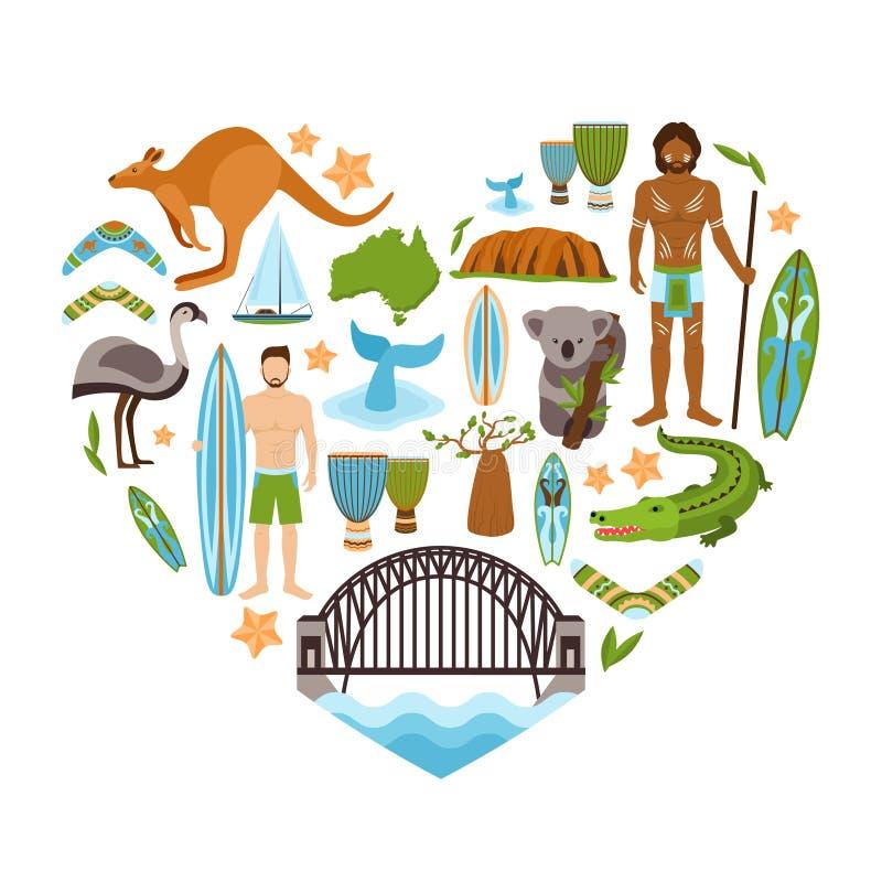 Forma do coração de Austrália ilustração stock