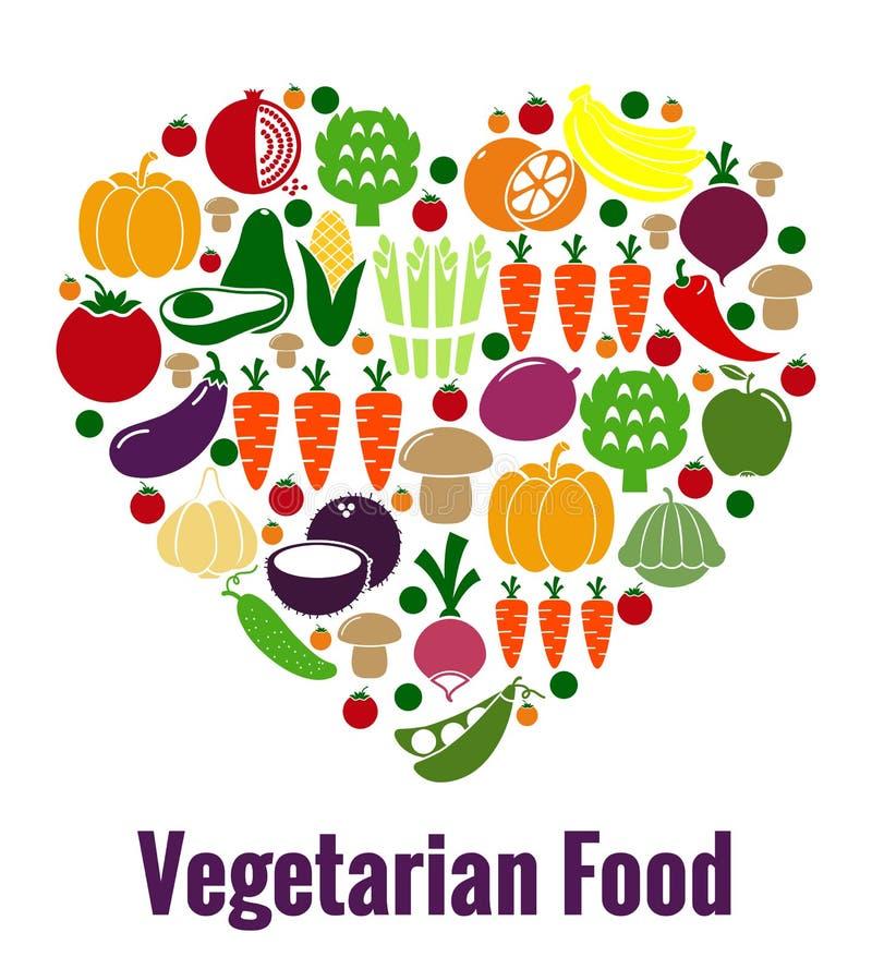 Forma do coração do alimento do vegetariano ilustração royalty free