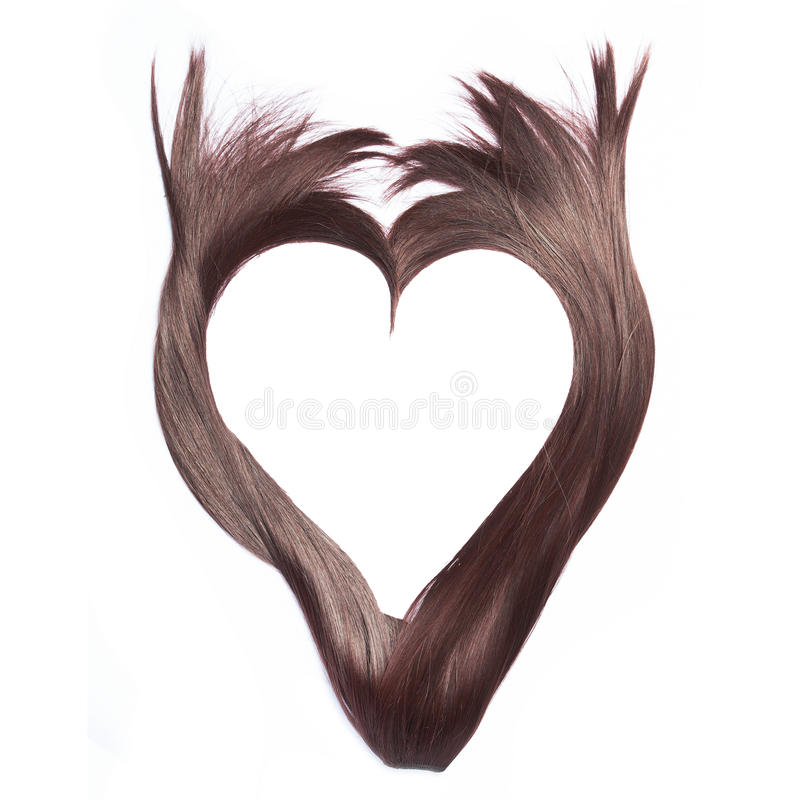 Forma do coração do cabelo marrom bonito, isolado no branco imagem de stock
