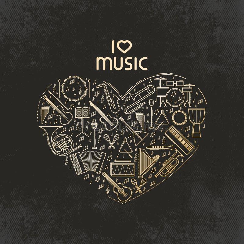 Forma do coração do vetor com grupo do ícone dos instrumentos de música Eu amo a música - linha ilustração fina Silhueta sadia is ilustração stock