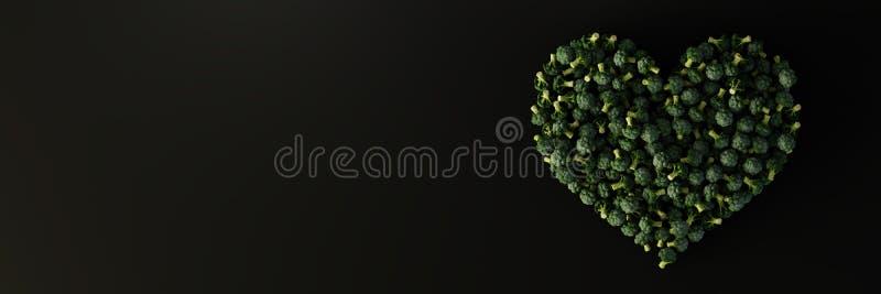 Forma do coração dos brócolis da couve fotografia de stock royalty free