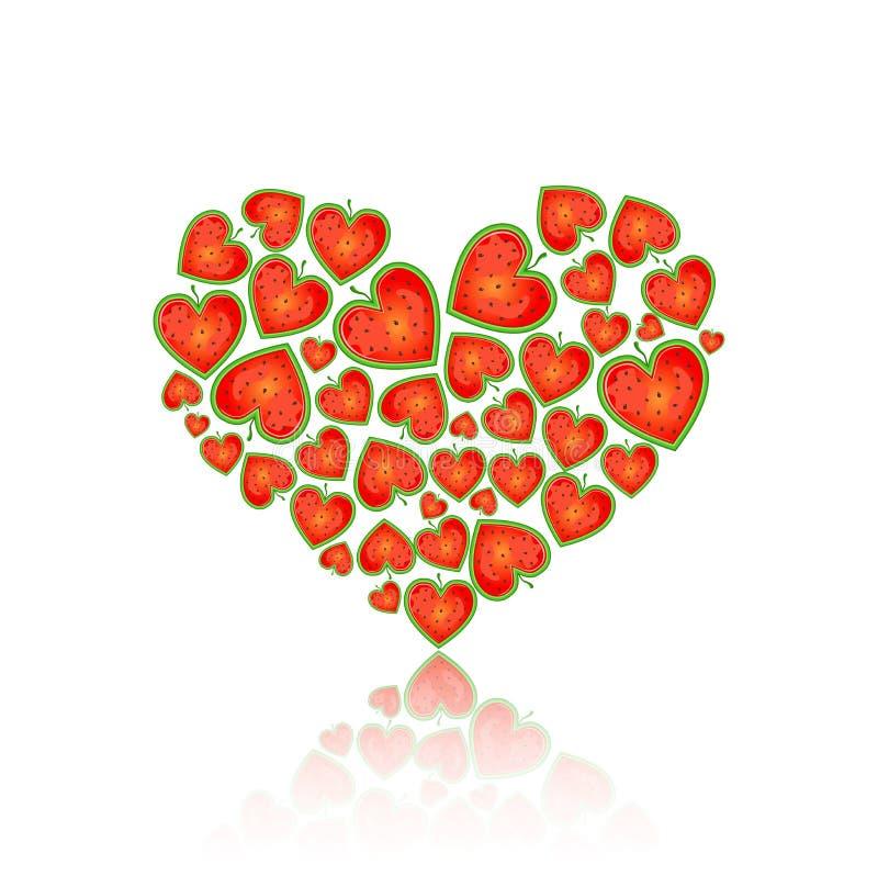 Forma do coração enchida com a melancia ilustração royalty free