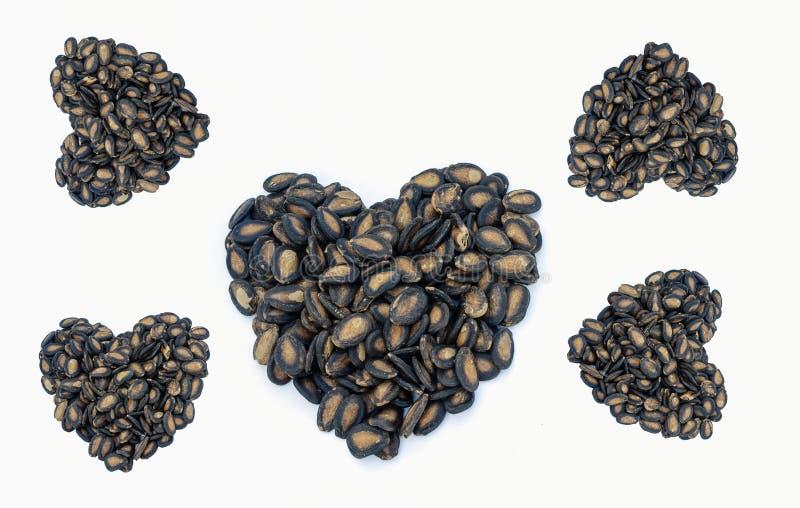 Forma do coração feita da semente de abóbora imagem de stock