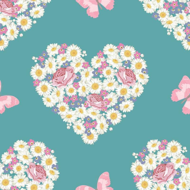 Forma do coração Flores das rosas, da camomila e do miosótis, borboleta no fundo azul Teste padrão sem emenda ilustração do vetor
