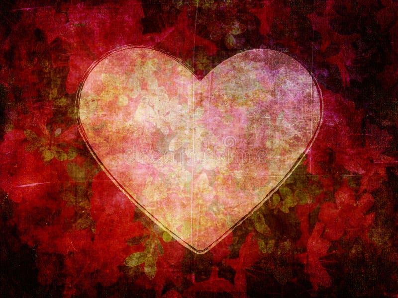 Forma do coração no fundo escuro do papel da flor do Grunge imagem de stock royalty free
